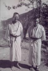 Vic Johnson and Dick at hot springs wearing kimonos.